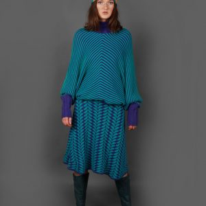 Angled Raised Row Jumper JMP18-1 Linda Wilson Knitwear Irish Designer Limerick