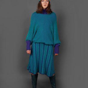 Angled Raised Row Jumper JMP18-1 Linda Wilson Knitwear Irish Designer Limerick