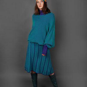 Angled Raised Row Jumper JMP18-2 Linda Wilson Knitwear Irish Designer Limerick
