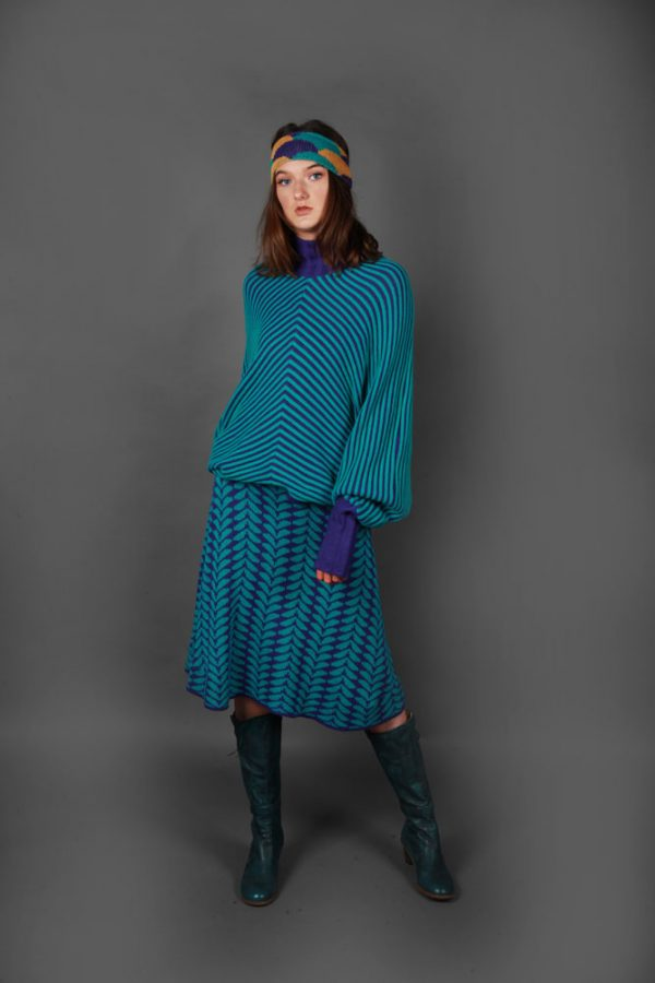 Angled Raised Row Jumper JMP18-2 Linda Wilson Knitwear Irish Designer Limerick
