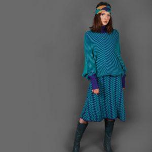 Angled Raised Row Jumper JMP18-3 Linda Wilson Knitwear Irish Designer Limerick