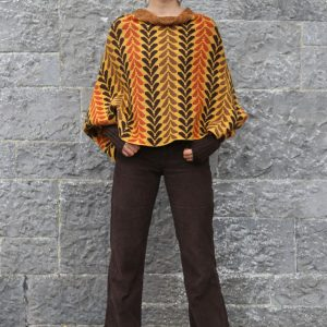 Leaf Patterned Box Draped Jumper LEAFJMP1-1 Linda Wilson Knitwear Irish Designer Limerick