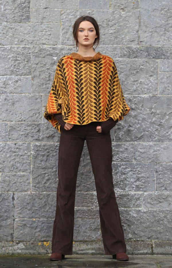 Leaf Patterned Box Draped Jumper LEAFJMP1-1 Linda Wilson Knitwear Irish Designer Limerick