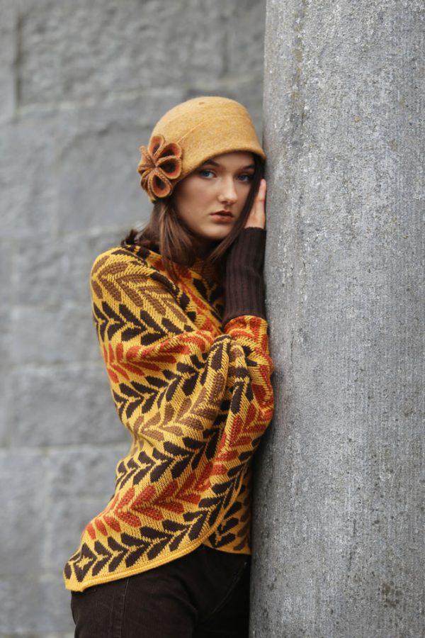 Leaf Patterned Box Draped Jumper LEAFJMP1-3 Linda Wilson Knitwear Irish Designer Limerick