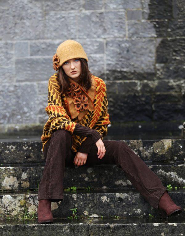 Leaf Patterned Box Draped Jumper LEAFJMP1-4 Linda Wilson Knitwear Irish Designer Limerick
