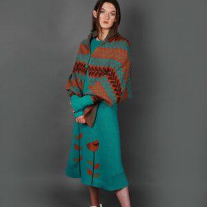 Leaf Patterned Poncho Style Draped Cardi LEAFCDG-1 Linda Wilson Knitwear Irish Designer Limerick