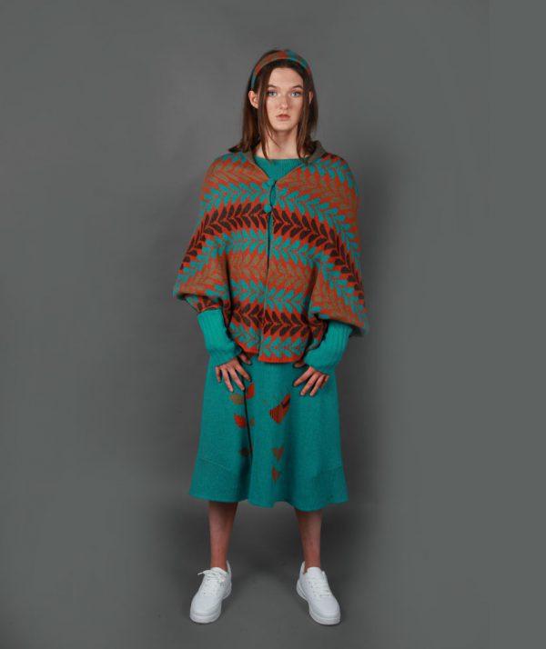 Leaf Patterned Poncho Style Draped Cardi LEAFCDG-2 Linda Wilson Knitwear Irish Designer Limerick