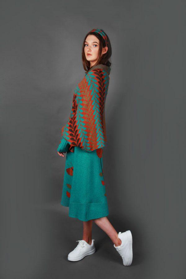 Leaf Patterned Poncho Style Draped Cardi LEAFCDG-3 Linda Wilson Knitwear Irish Designer Limerick