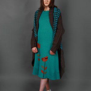 Pocket Patterned Draped Cardigan PKTCDG-1 Linda Wilson Knitwear Irish Designer Limerick