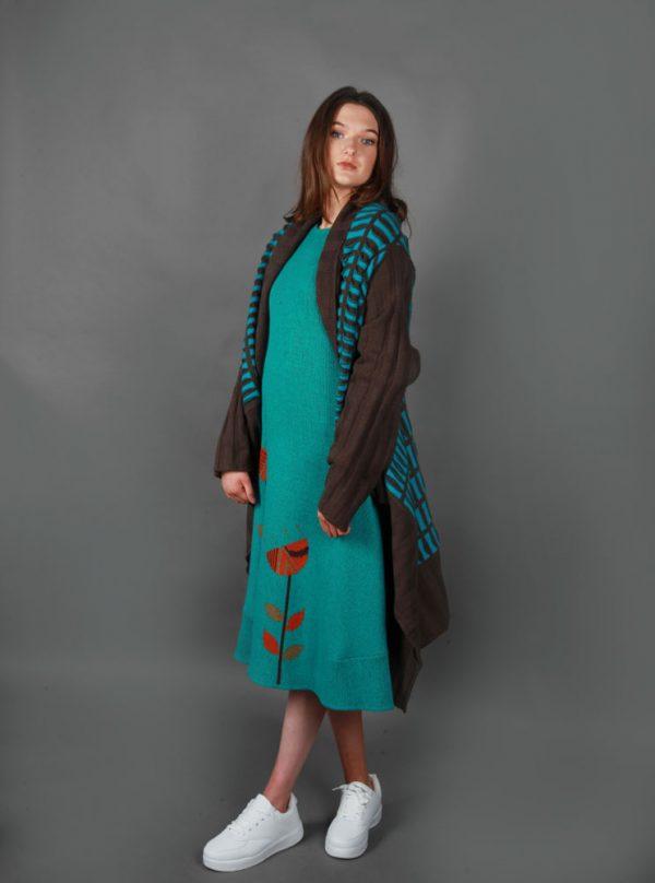 Pocket Patterned Draped Cardigan PKTCDG-2 Linda Wilson Knitwear Irish Designer Limerick