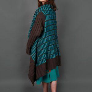 Pocket Patterned Draped Cardigan PKTCDG-3 Linda Wilson Knitwear Irish Designer Limerick