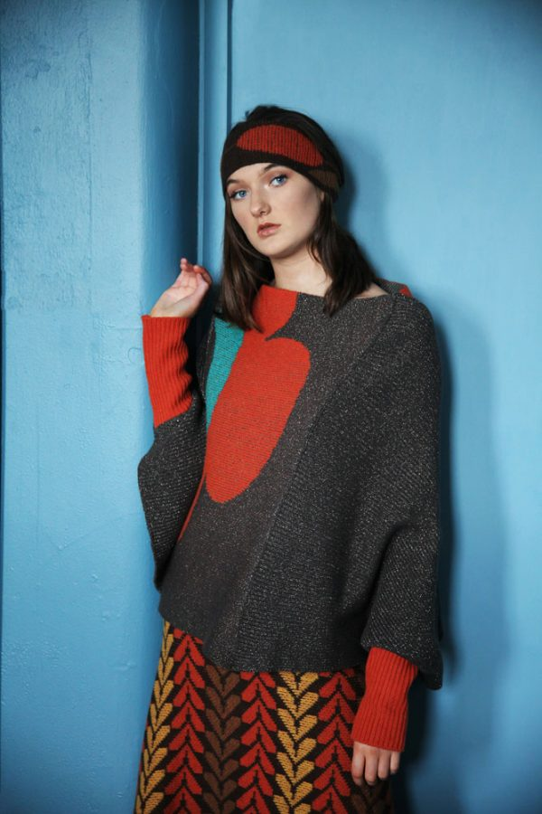 Retro Flower Jumper JMP22-1 Linda Wilson Knitwear Irish Designer Limerick