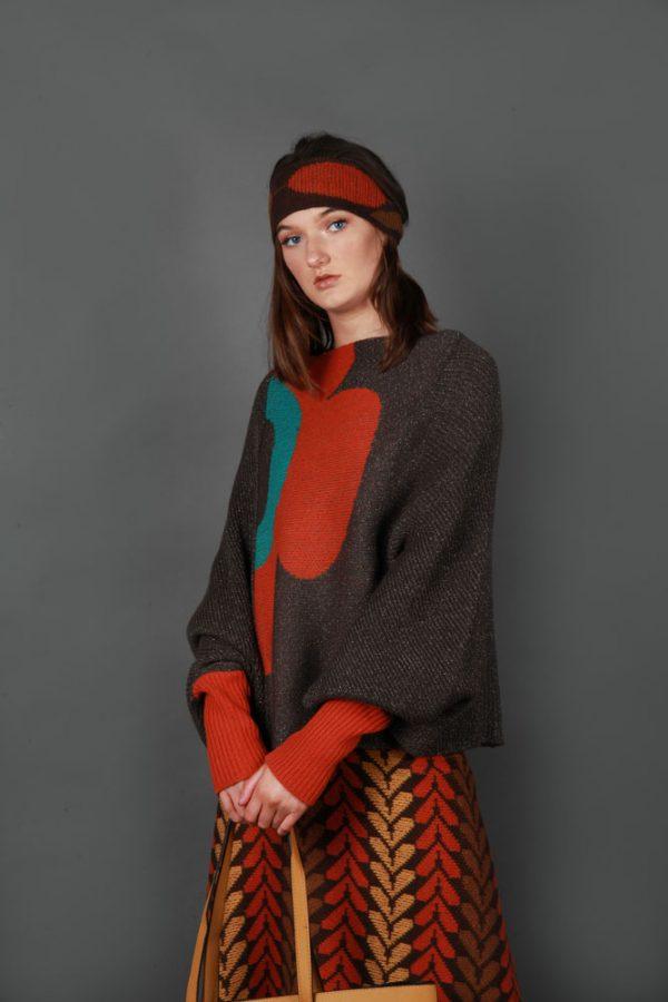 Retro Flower Jumper JMP22-3 Linda Wilson Knitwear Irish Designer Limerick