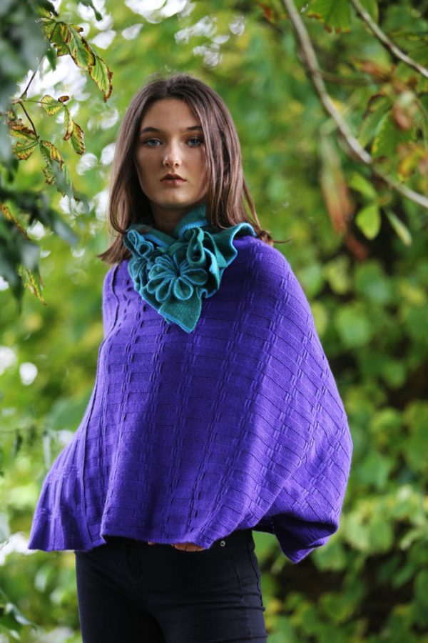 Rib Float Poncho Style Jumper RIBJMP1-1 Linda Wilson Knitwear Irish Designer Limerick