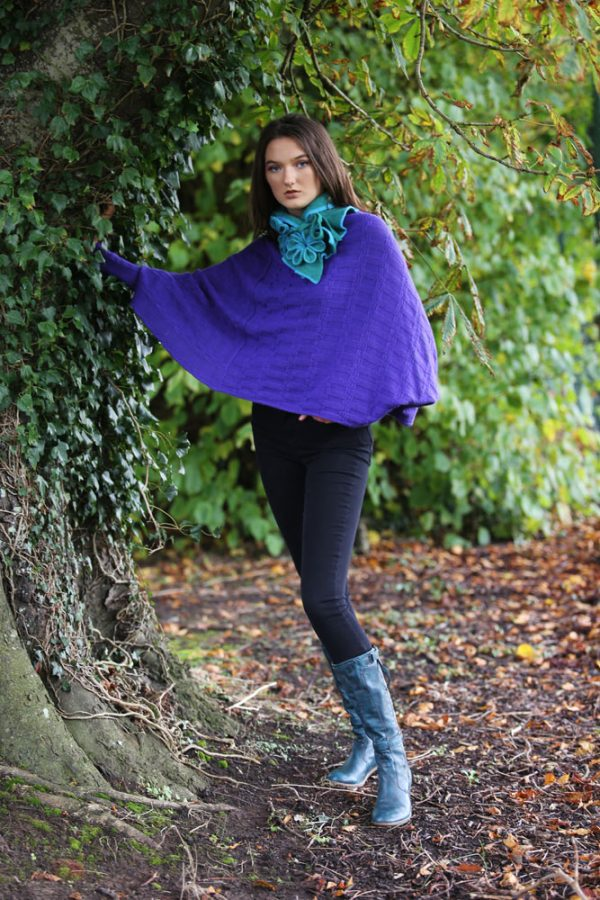 Rib Float Poncho Style Jumper RIBJMP1-2 Linda Wilson Knitwear Irish Designer Limerick