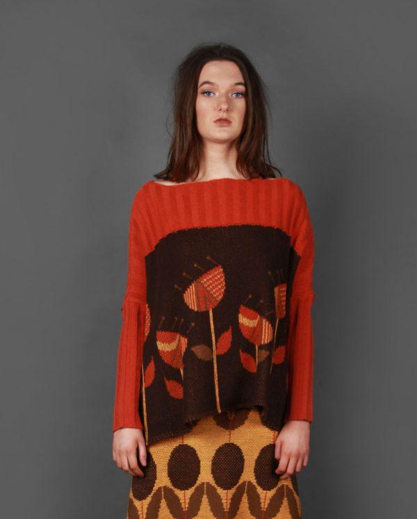Vintage Flower Jumper JMP21-4 Linda Wilson Knitwear Irish Designer Limerick
