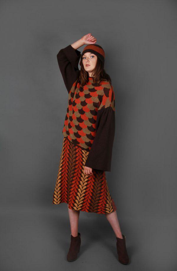 Arc Patterned Jumper JMP23-2 Linda Wilson Knitwear Irish Designer Limerick