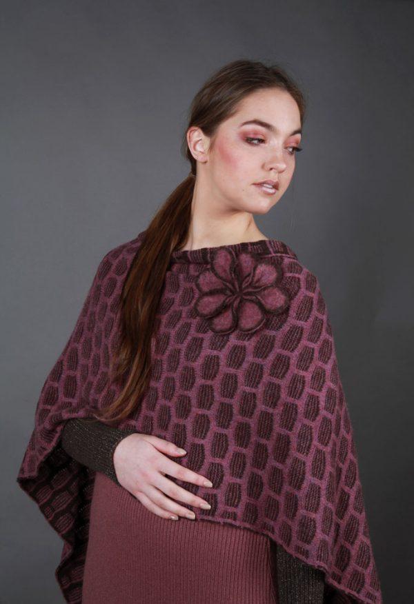 Draped Poncho PON3-10 Linda Wilson Knitwear Irish Designer Limerick