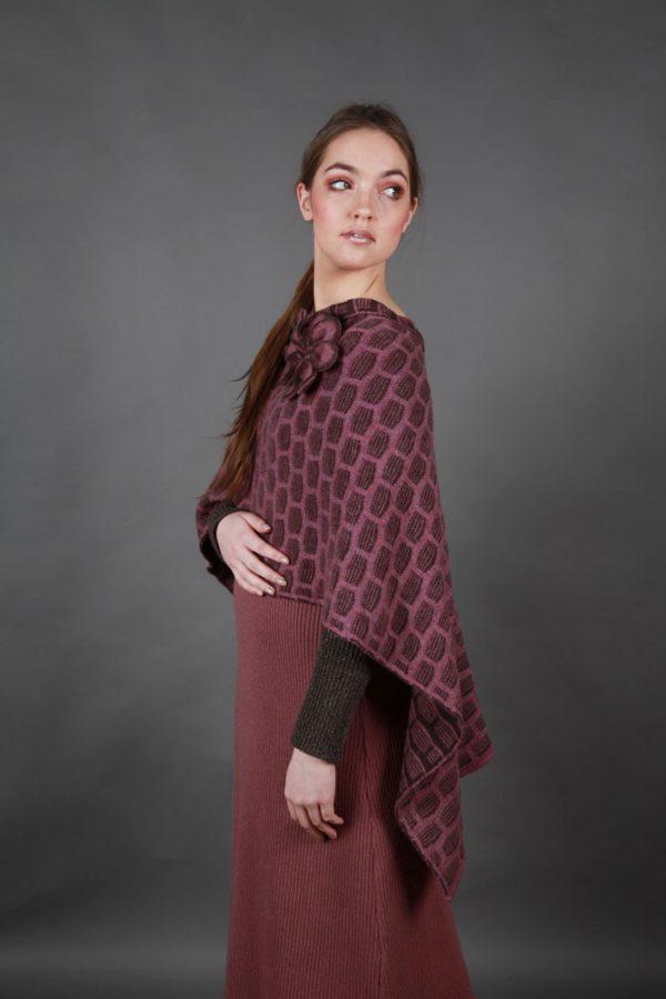 Draped Poncho PON3-11 Linda Wilson Knitwear Irish Designer Limerick