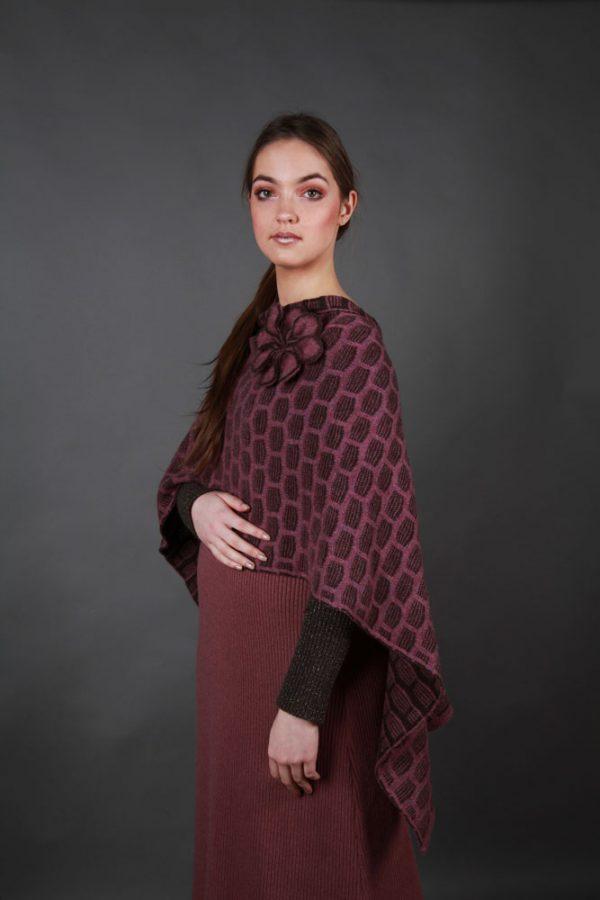 Draped Poncho PON3-12 Linda Wilson Knitwear Irish Designer Limerick