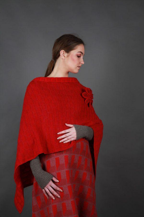 Draped Poncho PON3-13 Linda Wilson Knitwear Irish Designer Limerick