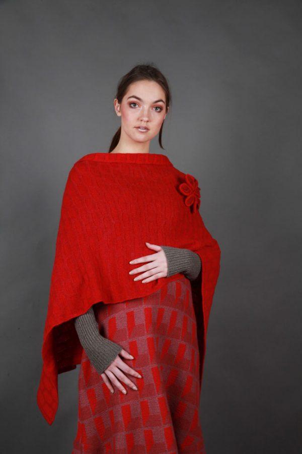 Draped Poncho PON3-14 Linda Wilson Knitwear Irish Designer Limerick