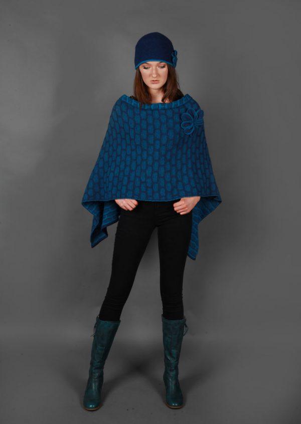 Draped Poncho PON3-3 Linda Wilson Knitwear Irish Designer Limerick