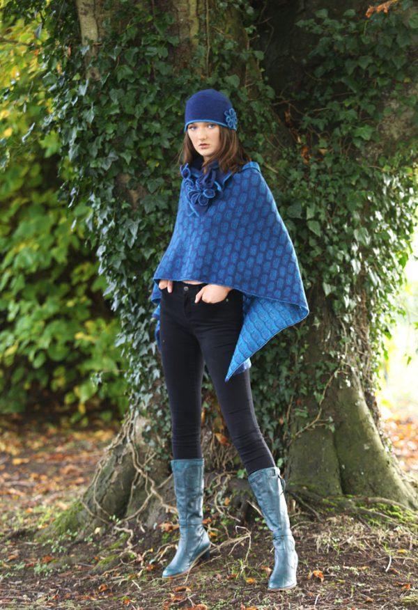 Draped Poncho PON3-5 Linda Wilson Knitwear Irish Designer Limerick