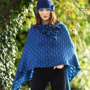Draped Poncho PON3-7 Linda Wilson Knitwear Irish Designer Limerick