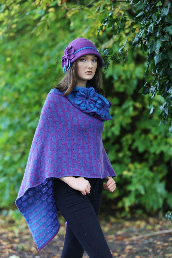 Draped Poncho PON3-8 Linda Wilson Knitwear Irish Designer Limerick