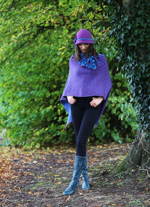 Draped Poncho PON3-9 Linda Wilson Knitwear Irish Designer Limerick
