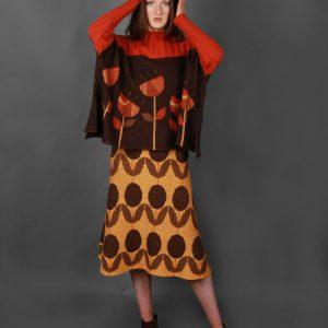 Floral Patterned A Line Skirt 3 Colour SKT11-1 Linda Wilson Knitwear Irish Designer Limerick