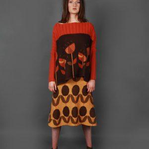 Floral Patterned A Line Skirt 3 Colour SKT11-2 Linda Wilson Knitwear Irish Designer Limerick