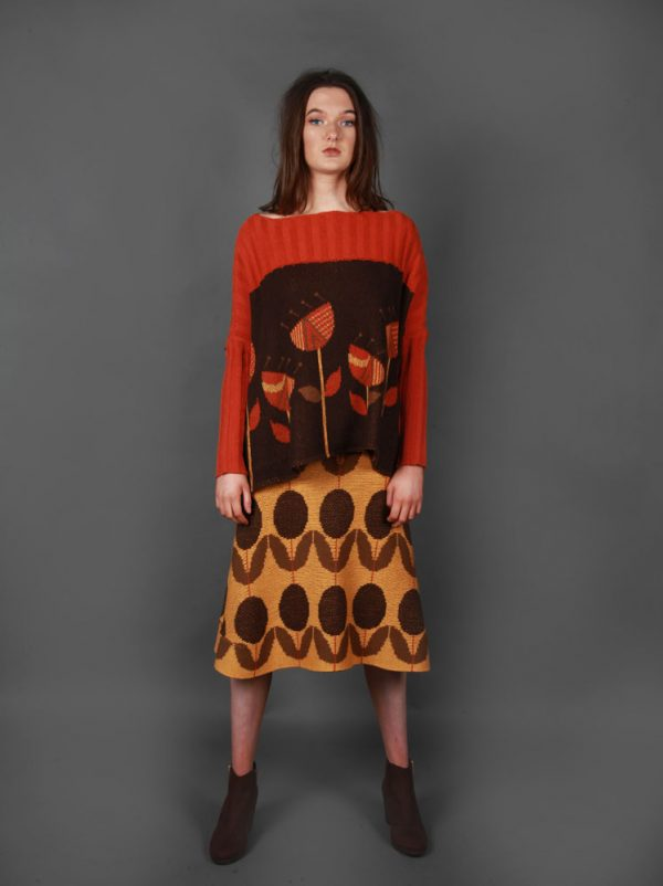 Floral Patterned A Line Skirt 3 Colour SKT11-2 Linda Wilson Knitwear Irish Designer Limerick