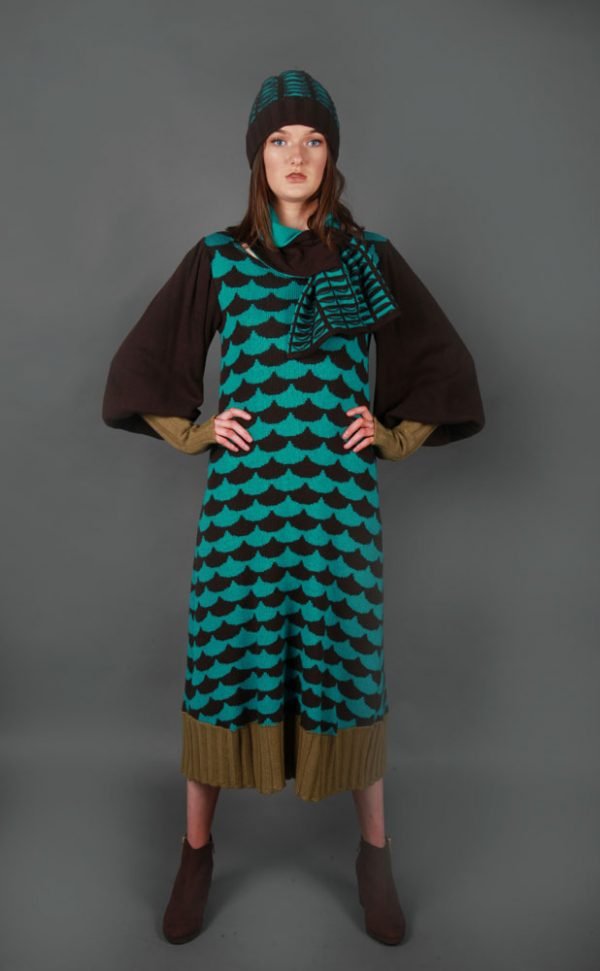 Ribbed Arc Patterned Dress DRS16-3 Linda Wilson Knitwear Irish Designer Limerick