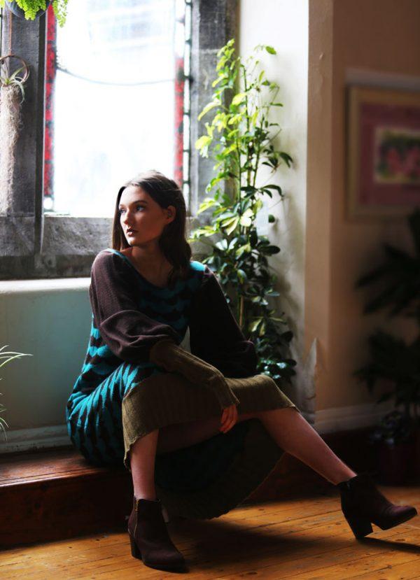 Ribbed Arc Patterned Dress DRS16-4 Linda Wilson Knitwear Irish Designer Limerick