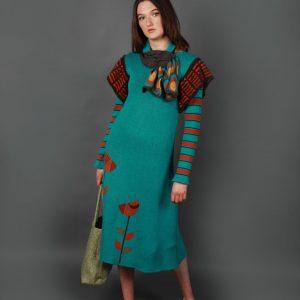 Vintage Flower Dress DRS15-1 Linda Wilson Knitwear Irish Designer Limerick
