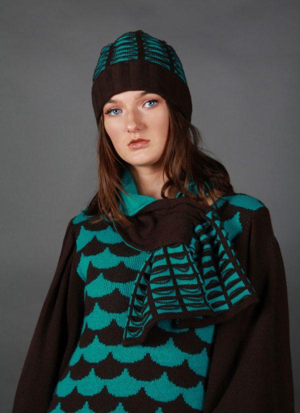 Beanie Ribbed Textured Pocket Patterned Hat HAT5c-1 Linda Wilson Knitwear Irish Designer Limerick