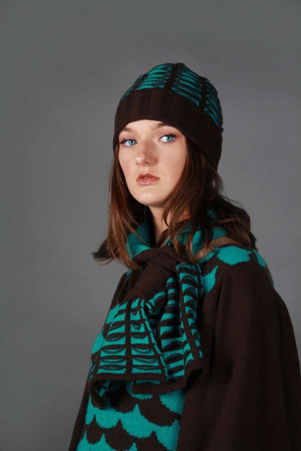 Beanie Ribbed Textured Pocket Patterned Hat HAT5c-2 Linda Wilson Knitwear Irish Designer Limerick