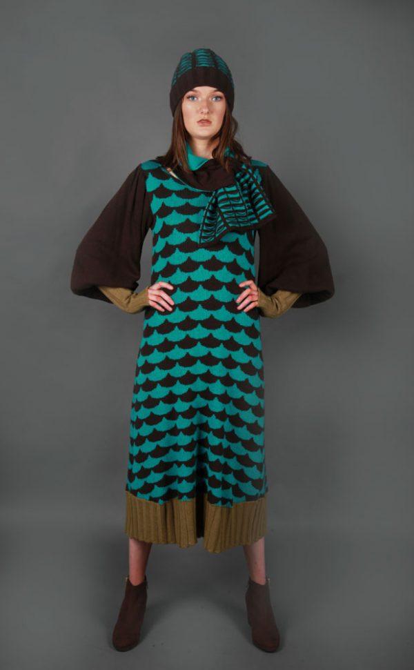 Beanie Ribbed Textured Pocket Patterned Hat HAT5c-3 Linda Wilson Knitwear Irish Designer Limerick