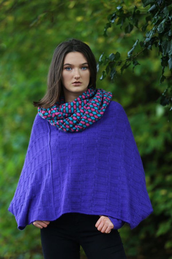 Box Patterned Twisted Loop Scarf LOOPSCF3-1 Linda Wilson Knitwear Irish Designer Limerick
