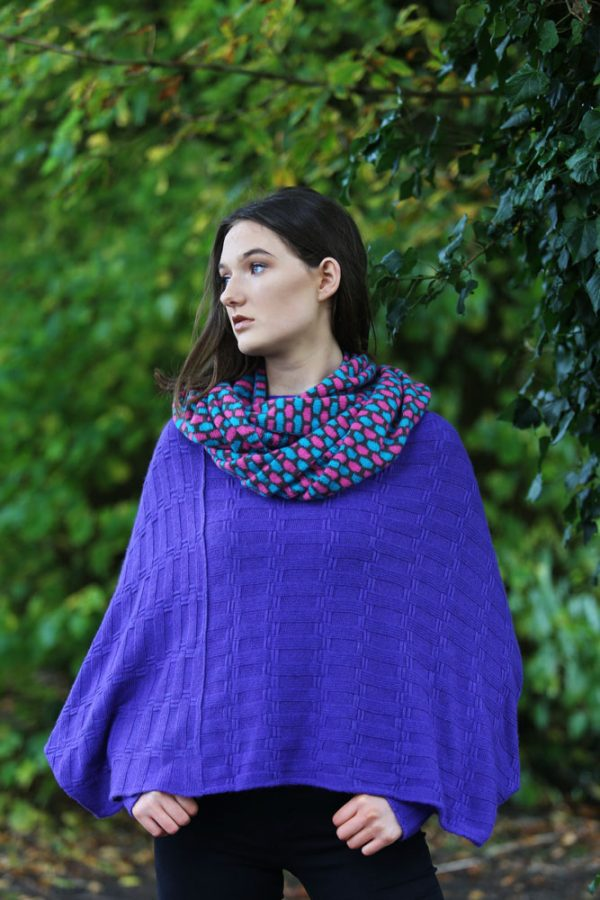 Box Patterned Twisted Loop Scarf LOOPSCF3-2 Linda Wilson Knitwear Irish Designer Limerick - Copy