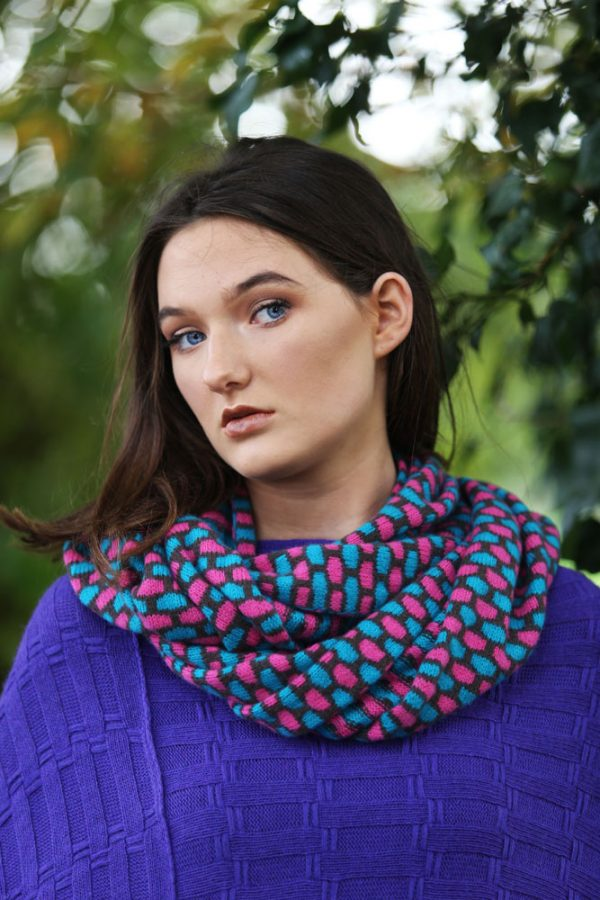 Box Patterned Twisted Loop Scarf LOOPSCF3-3 Linda Wilson Knitwear Irish Designer Limerick - Copy