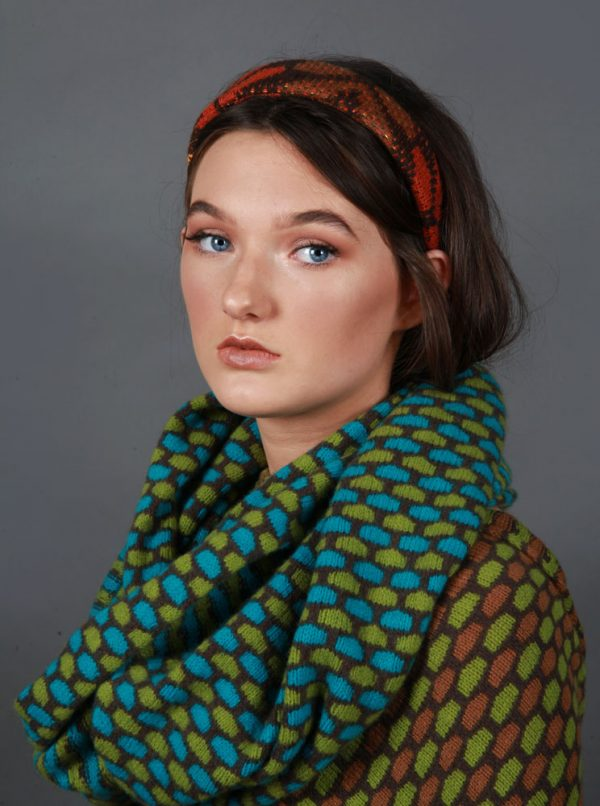 Box Patterned Twisted Loop Scarf LOOPSCF3-4 Linda Wilson Knitwear Irish Designer Limerick