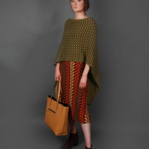 Draped Box Tuck Stitch Poncho PON5-1 Linda Wilson Knitwear Irish Designer Limerick