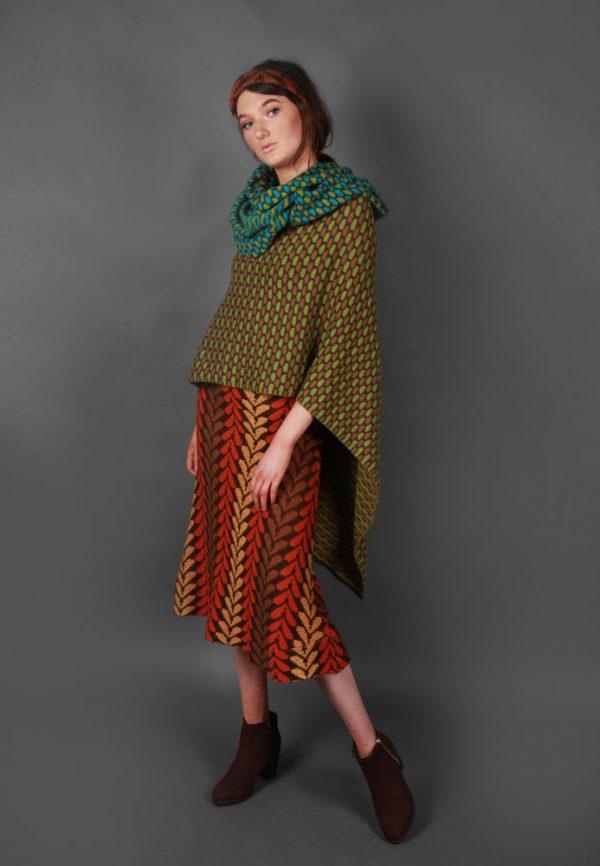 Draped Box Tuck Stitch Poncho PON5-2 Linda Wilson Knitwear Irish Designer Limerick