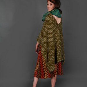 Draped Box Tuck Stitch Poncho PON5-3 Linda Wilson Knitwear Irish Designer Limerick