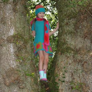 Flower Dress DRS18-1 Linda Wilson Knitwear Irish Childrens Knitwear Designer Limerick
