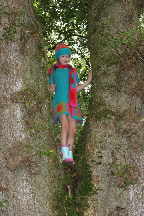 Flower Dress DRS18-1 Linda Wilson Knitwear Irish Childrens Knitwear Designer Limerick