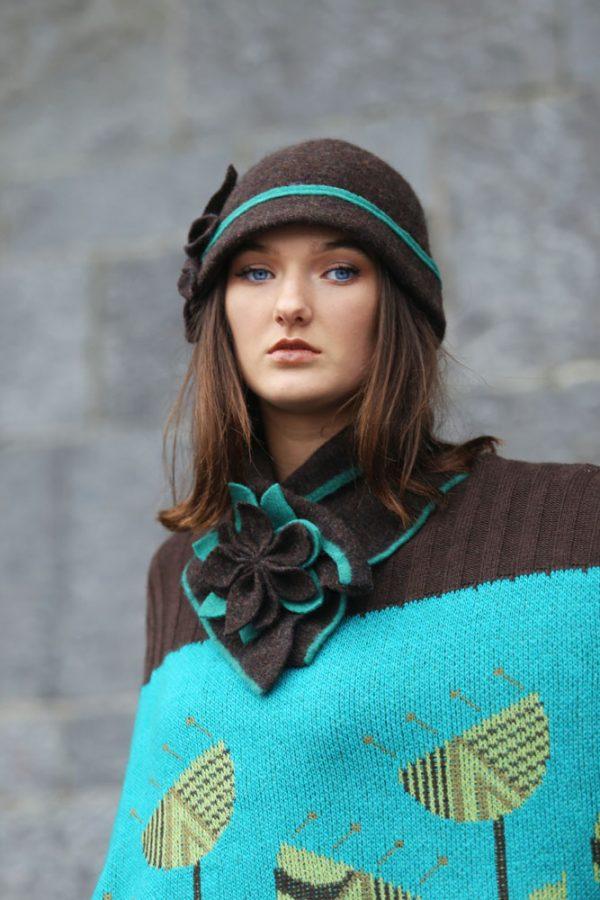 Large Petal Cloche Hat HAT28-5 Linda Wilson Knitwear Irish Designer Limerick